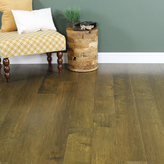 "1/2"" x 7 1/2\"" Handscraped Maple Flooring - Crushed Olive"